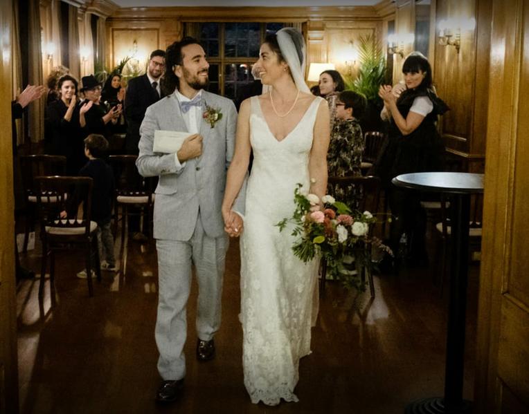 Groom and Bride leaving wedding ceremony