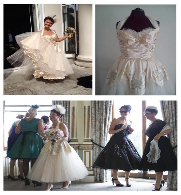 collage of white vintage wedding dress