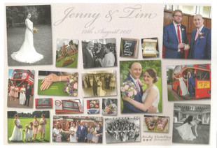 collage of wedding pictures including tailored wedding dress