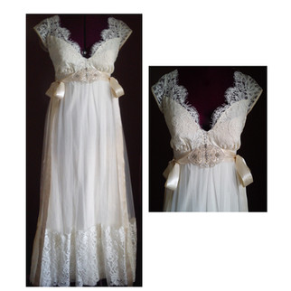 white vintage wedding dress with lace and silk detailing
