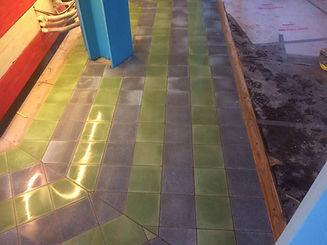 restaurant floor tiles green and grey