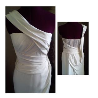 white bridal dress with shoulder detailing