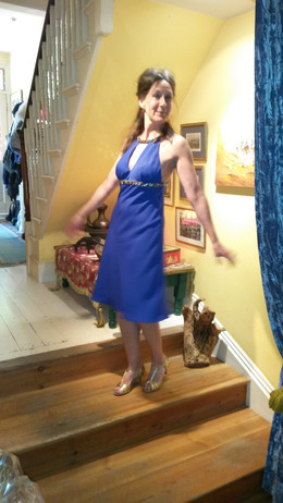 woman wearing royal blue dress