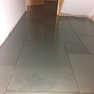Shiny silver floor tiles