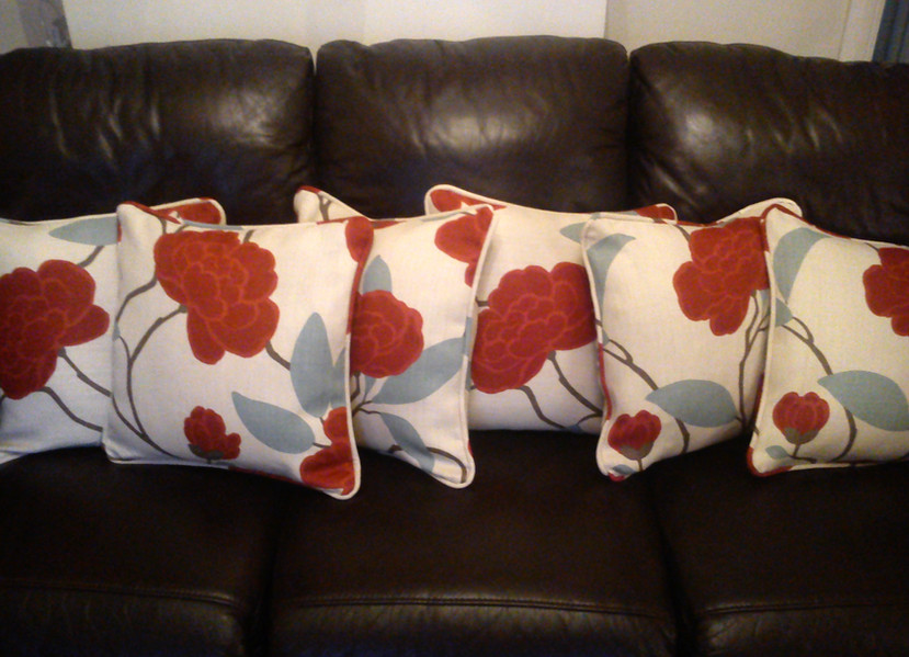 6 custom made cushions