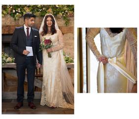 Silk Wedding Dress with intricate pattern