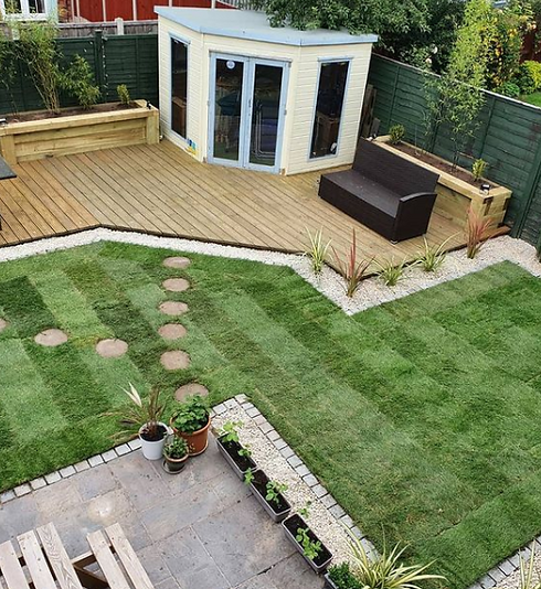 Garden with Artificial Grass and Decking