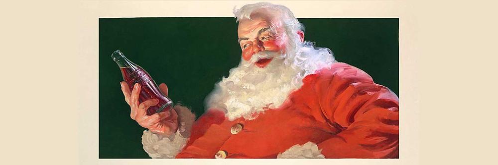 Ilustração do Papai Noel segurando uma garrafa de vidro da Coca-Cola