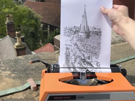Artista recria paisagens utilizando caracteres de máquina de escrever