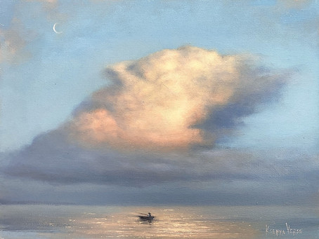 Pinturas a óleo capturam beleza das nuvens no céu