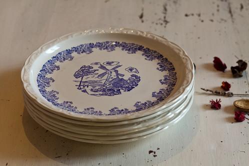 6 assiettes plates digoin sarreguemines vaisselle ancienne france sand mayer brocante. Black Bedroom Furniture Sets. Home Design Ideas