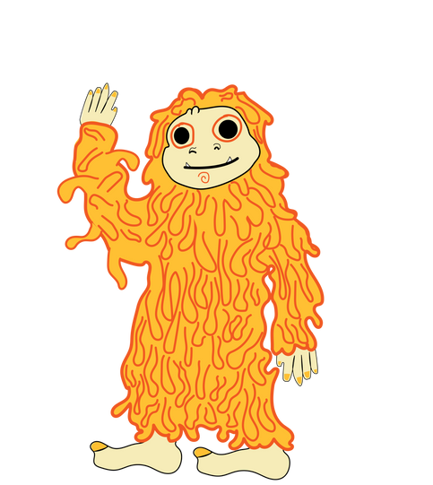 meet the spaghetti yeti!  he represents a childs inner monster when they are hungry.