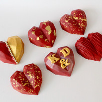Red & Gold Cake Hearts