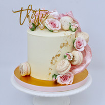 Floral & Macaron 30th Ganache Cake