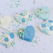 Blue Dotty Cake Hearts