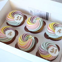 Rainbow Monogram Cupcakes