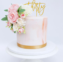 Marble Floral 30th Cake
