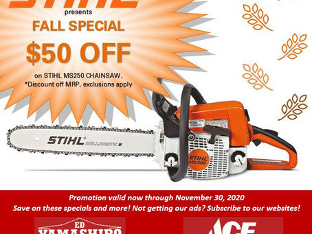 Save big on a Stihl chainsaw!