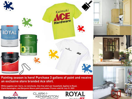 PURCHASE 3 GALLONS OF PAINT AND RECEIVE AN EXCLUSIVE ACE SHIRT!