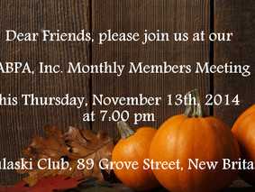 November 13, 2014: PABPA monthly Members Meeting