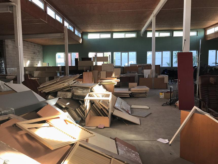 Huge piles of boards dismantled furnitur
