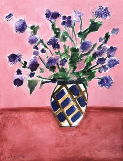 Fleurs violettes au fond rose et rouge, 2021