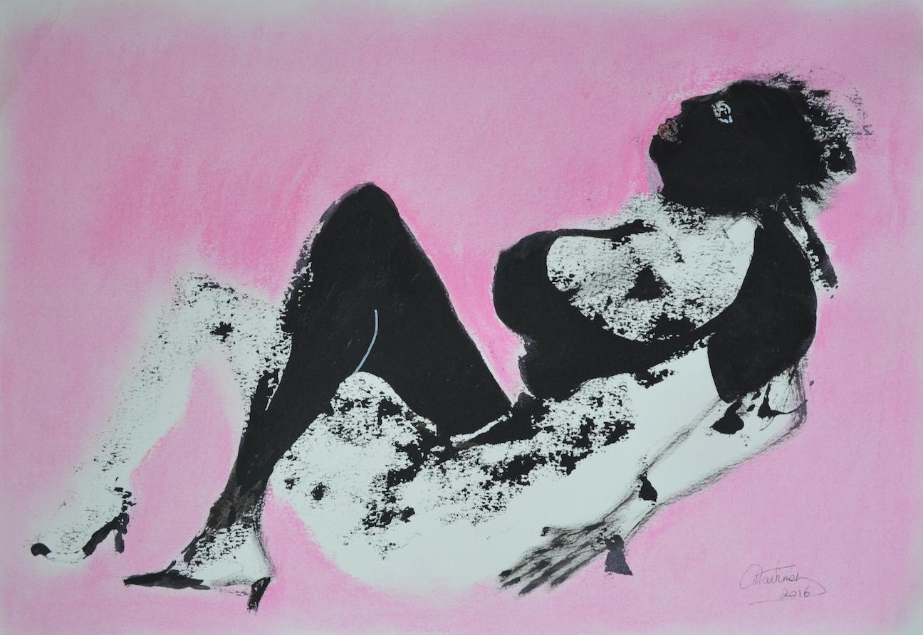 Femme allongée, rose, 2016