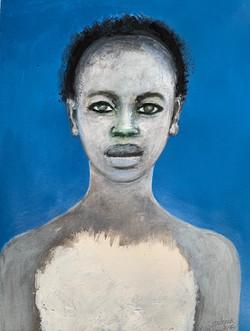 """""""Portrait au fond bleu gris"""", 2020"""
