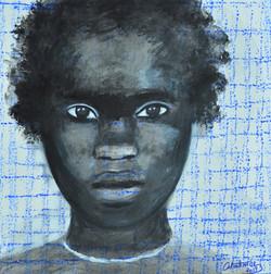 """Portrait au fond bleu blanc"" 2019"
