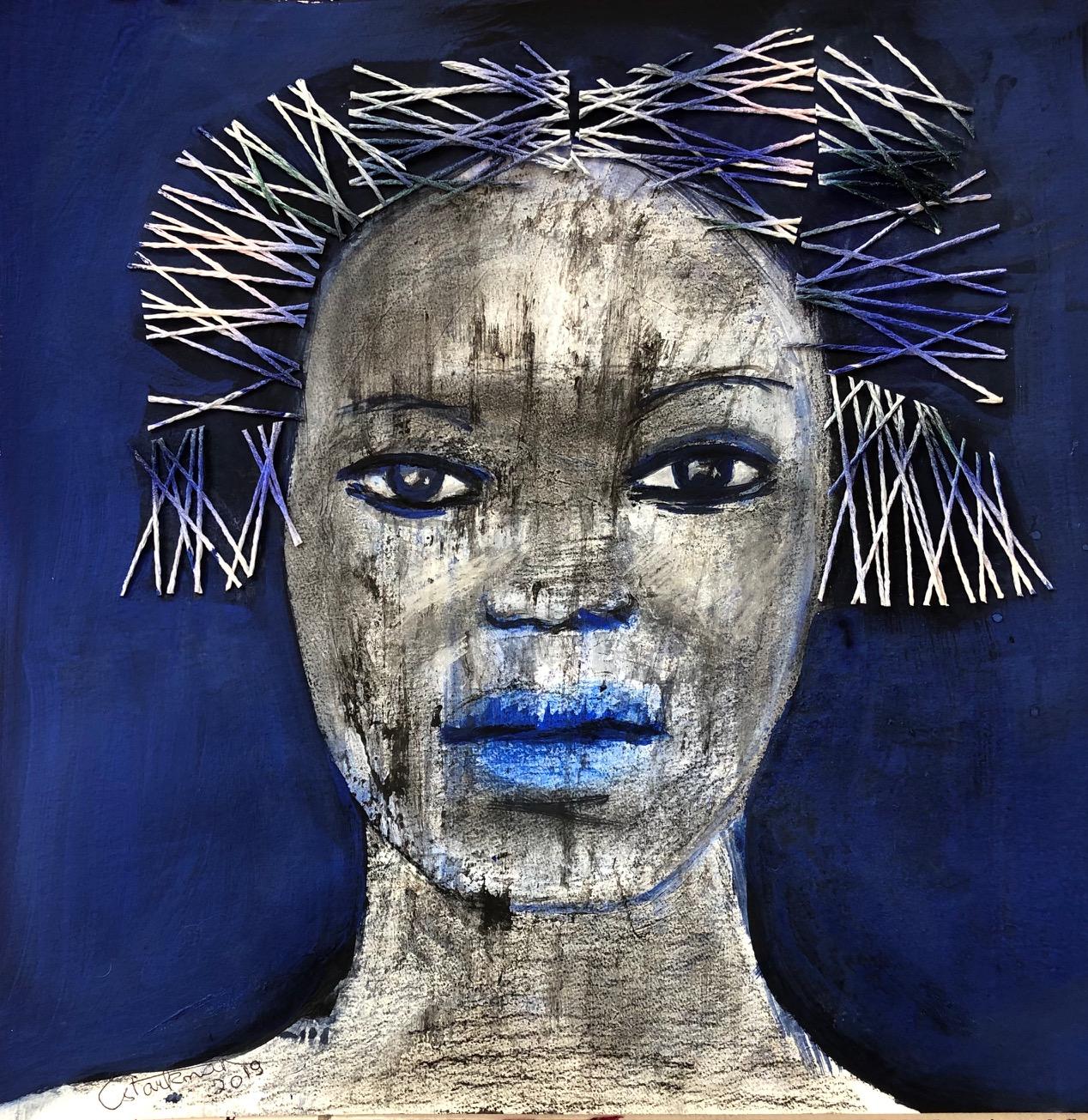 """""""Femme au fond bleu"""" 2019, Private collection"""