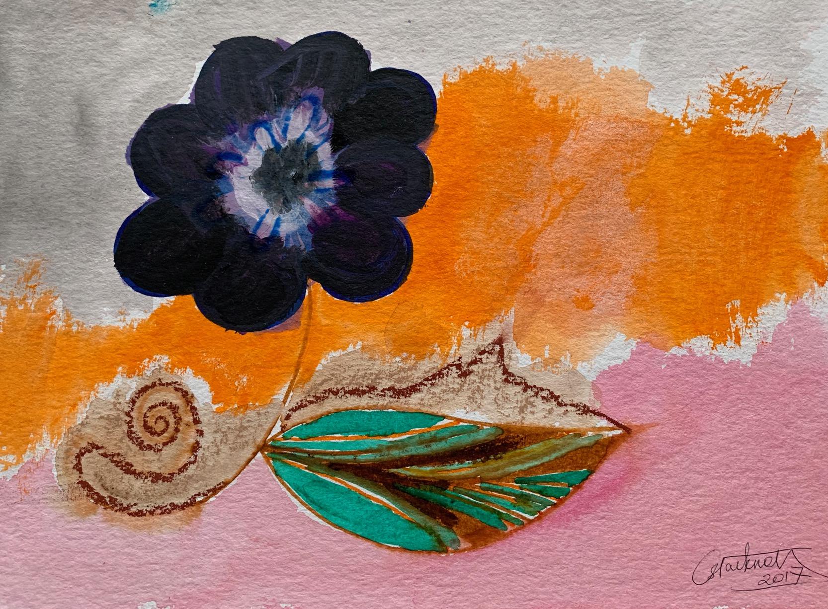 """""""Fleur au fond orange"""",2017"""