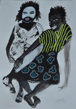 Couple à la rayure jaune, 2016 Private collection