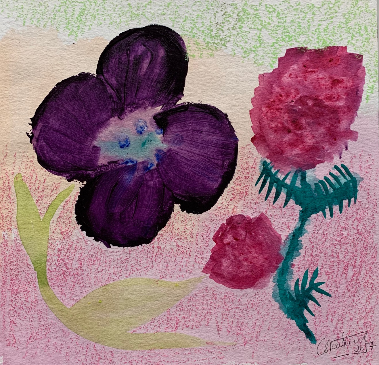 """Flowers, purple and red"",2017"