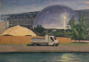 la camionette a la villetteHuile sur toile 27x33