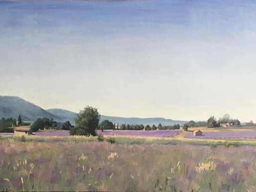 """My latest painting """"lavender Fields near Sault """" oil on wood 123x50.5 c""""m here are a few close-ups"""
