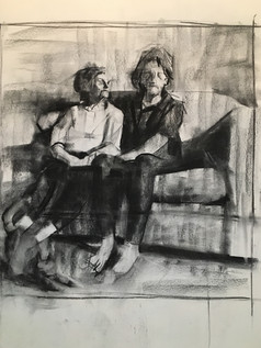 Charcoal on paper 50x70 preparatory drawing for grandmoma3
