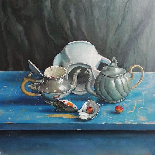 Two tea pots, oysters & ornament fruit