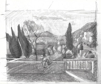 Copy after Corot landscape painting