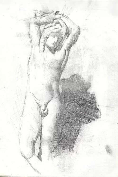 Signed reproduction - a Roman youth sketch