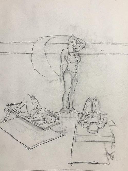 "Line prepatory sketch for ""Tea by the pool"""