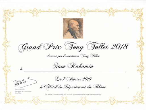 Sam Rachamin wins first prize Tony Tollet ,Lauréat du 1er Grand Prix Tony Tollet : Sam Rahamin