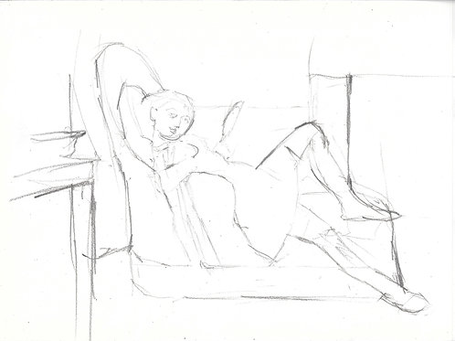 line drawing copy of a Balthus painting