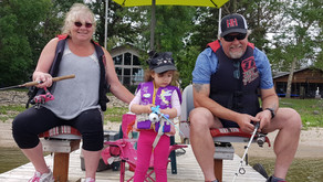 Sophia's first fishing with Baba and Papa