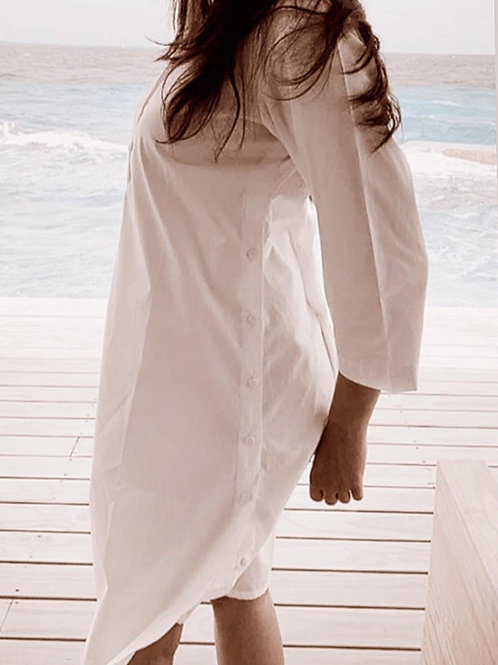 WHITE SIDE BUTTONED SHIRT