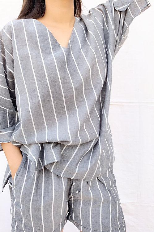 GREY STRIPES SOFT YARN COTTON BATWING SET
