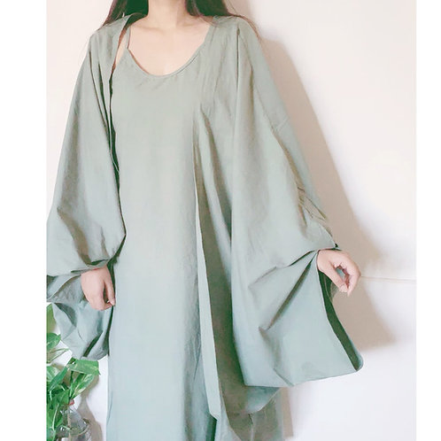 MIST GREEN COTTON SLIP DRESS AND KIMONO JACKET