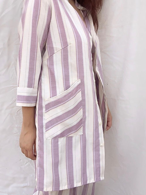 MAUVE STRIPES LONG SHIRT SET