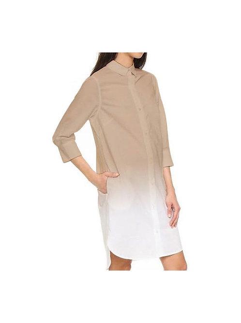 DARK BEIGE OMBRE SHIRT DRESS