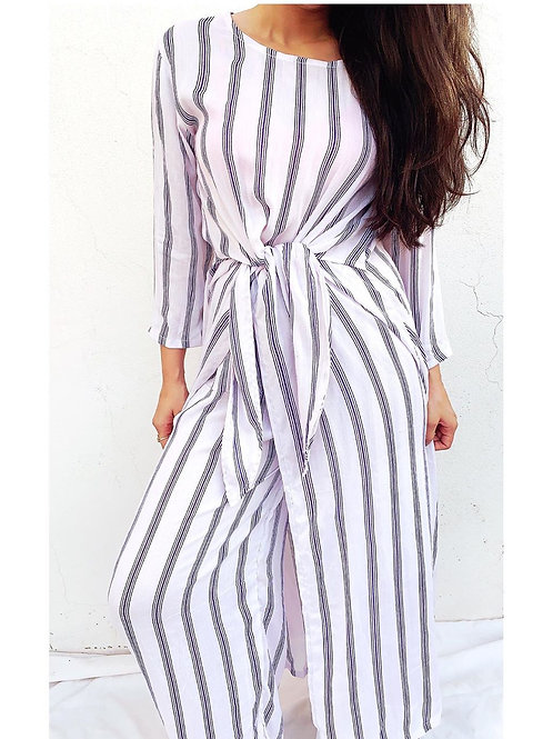 BLUE AND WHITE STRIPES TIE TOP SET