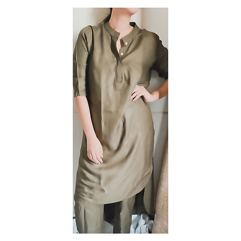 PALM OLIVE SOFT COTTON KURTA SET